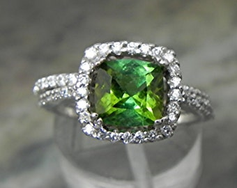 AAAA Natural Green Tourmaline Cushion cut   7x7mm  1.51 Carats   14K white gold Halo Bridal set with ..45 carats of diamonds HB88  1526 MMM