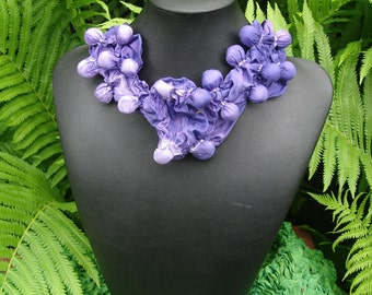 Purple and White Two Sided Silk Shibori Bubble Necklace Scarf with Clasp NS14-18