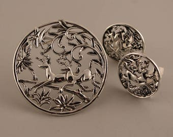 Vintage Sarah Coventry Woodland Deer Pin and Earrings, 1950s Sarah Cov