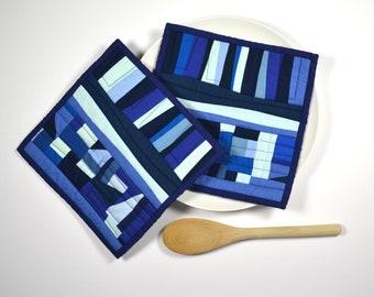 Blue Potholders, Modern Pot Holders,  Modern, Hostess Gift, Modern Hot Pads
