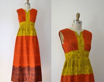 1970s Hawaiian Dress / Alfred Shaheen Cotton Maxi Dress