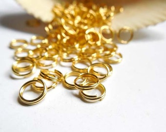 50/100 Gold Plated Double Loop Split Jump Rings 6mm - 8-14