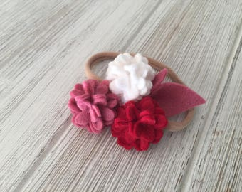 Valentine's Day headband, floral crown, Valentine's Day bow, floral headband, newborn headband, hydrangea headband, red, white and pink