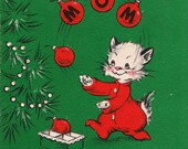 Vintage 1948 Hallmark Merry Christmas Greetings Card (B3)