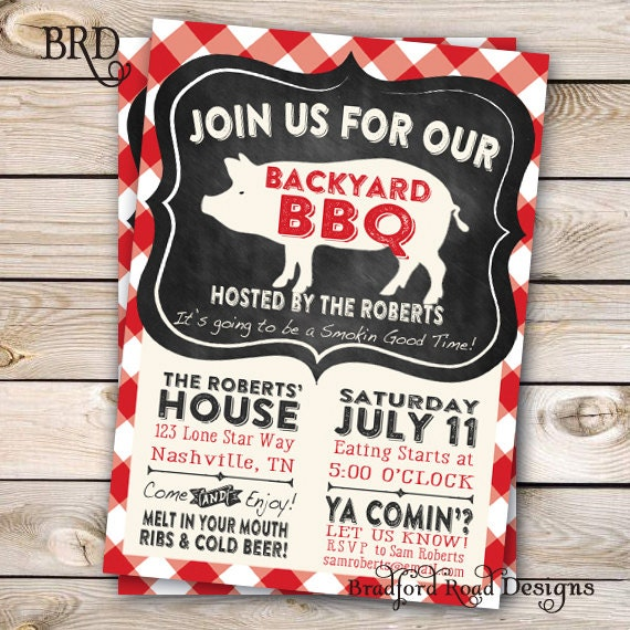 Bbq Invitation Backyard Bbq Barbecue Party Ribs Pulled Pork