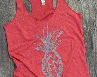 Pineapple tank, pineapple shirt, womens graphic tees, yoga tank, workout tank, hawaiian shirt, racerback tank, gift for her, plus size
