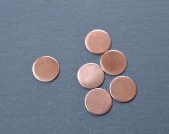 1/2 inch diameter raw copper discs- copper stamping blanks- set of 6- round copper blanks, plain copper discs, metal stamping, diy tags