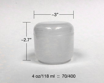 Empty Cosmetic Jars with Dome Lid - Natural Plastic, 4oz Sizes - Double Wall, Round Base