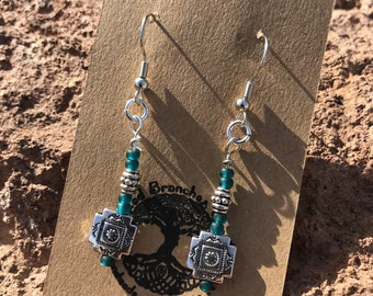 Southwestern Cross Metal Dangle Earrings