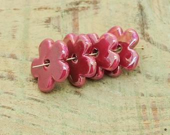 ceramic beads X 4 pink /fuschia flower iridescent 26mm