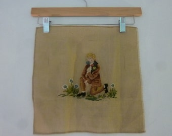 """Vintage Pre-Worked Needlepoint Canvas Petit Point Young Man in Suit Smelling Flowers Made in Madeira 1970s 12 1/2""""  X  12 1/2"""""""