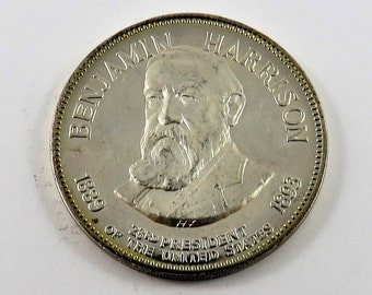 United States Franklin Mint Sterling Silver Medal of Benjamin Harrison the 23rd President 1889-1893. Series # 2389