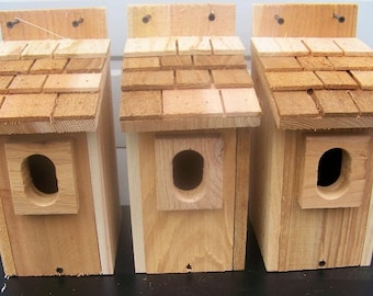 3 bluebird houses nest with cedar shake roof and peterson oval entrance handmade by Cedarnest