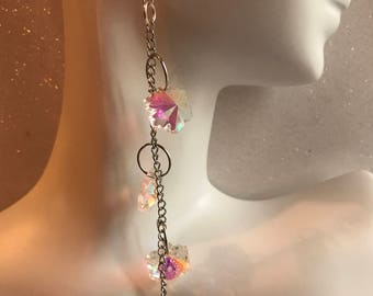 Aurora Borealis Crystal Snowflake Earrings * Long Dangles * Snowflake Drop Earrings * Long Statement Earrings