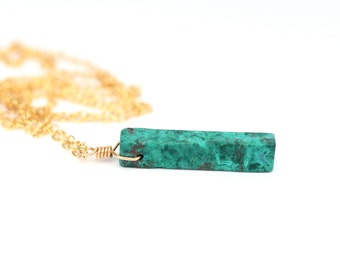 Raw malachite necklace - mineral necklace - bar necklace - rectangle necklace - geometric - a malachite bar on a 14k gold vermeil chain