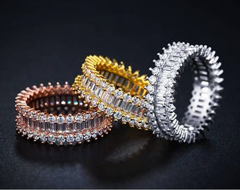 Luxury Rings Paved Rectangle Crystal & CZ
