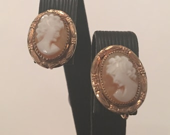 Antique 12K Yellow Gold Filled Cameo Earrings, Screwback Style
