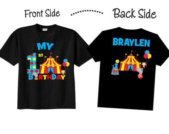 1st Birthday Shirts with Circus Birthday Shirts with Circus on BLACK Shirts