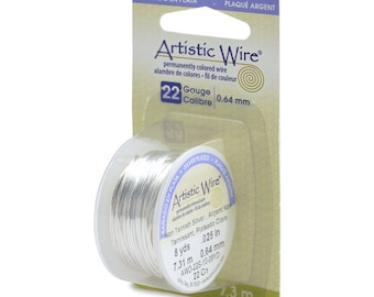 Artistic Wire 22 Gauge Tarnish Resistant Silver 43117 Dispenser 8yds Round Wire, Jewelry Wire, Craft Wire, Silver Plated Wire, Wire Wrapping