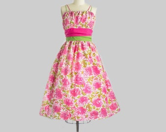 1950s Pink Rose Print Cotton Sundress   Large (36B/30W)