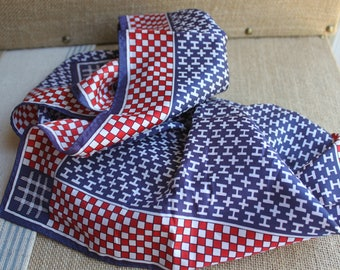 A beautiful red white and blue scarf vintage scarf