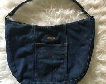 Vintage Betsey Johnson Denim Hobo Bag