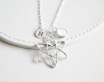 Atom Necklace, Atom Gift, Scientific Jewelry, Scientific  gift, Science Necklace, Atomic, Chemistry, physics, Biology, Minimalist necklace