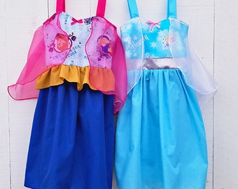Elsa dress, Anna dress, princess dress, Frozen dress, summer dress, toddler princess dress, comfortable princess dress, handmade dress, Elsa