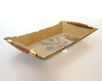 George Briard Serving Dish With Wooden Handles