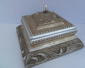 Ornate Silver Antiqued Jewelry Keepsake Box