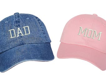 Dad Hats | DAD & MOM , Dad Hat , Embroidered , Expecting Parents , Baseball Cap , New Parents , Couples Hats , Gift For Mom , Gift For Dad