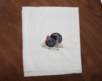 Wild Turkey Machine Embroidered Flour Sack Dish Towel