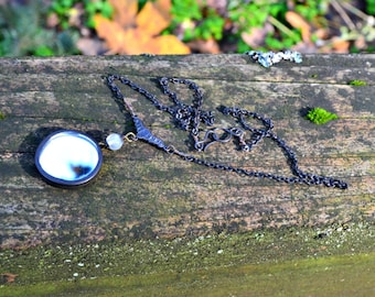 À la recherche de bijoux fait à la main collier en verre avec connecteur bronze art nouveau, Pierre de lune et petit miroir breloque cadeau