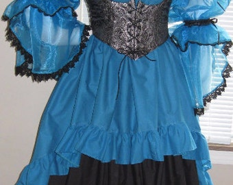 DDNJ Choose Color 2 Tier Side Lace Split Sheer Slv Burlesque Chemise Plus Custom Made ANY Size Renaissance Anime Costume Steampunk Gypsy