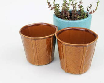 Set of Two Tan Brown Small Planters