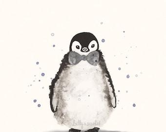 Nursery Print of Baby Penguin, Nursery Wall Art of Watercolour Penguin - Gender Neutral Nursery Decor