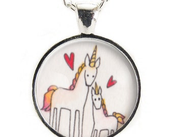 Gifts For Mom, Mommy And Me Unicorn Jewelry, Mothers Day Gift, Mom And Baby Necklace, Cute Unicorn Pendant