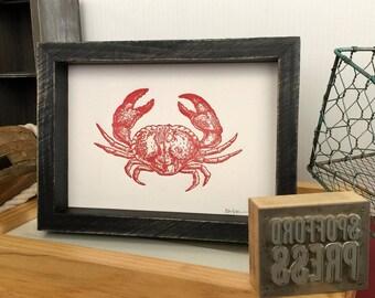 Red Crab Letterpress Print