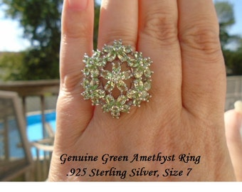 Green Amethyst Or Pink Sapphire Ring .925 Sterling Silver