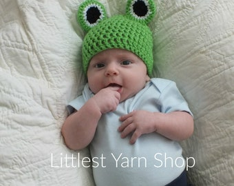 0 to 3 Month Frog Hat