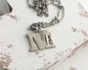 M is for Mom Personalized Initial Necklace - Pewter Letter Necklace - Hand Stamped Mom Jewelry - Personalized Jewelry - Mother's Day Gift
