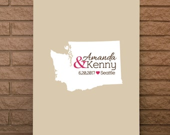Wedding Guestbook, State Guestbook, Washington Guest Book, Guest Sign, Washington Wedding Sign, Washington Wedding