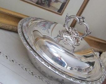 Vintage ornate covered Silver Serving Dish