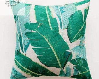 Throw Pillow Cover, SoEthnik Tropical Rainforest Linen Pillow Cover 18 x 18 Beige, Green