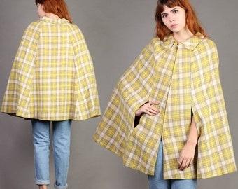 SALE SALE SALE vintage Yellow+Plaid wool Zipper cape poncho coat jacket striped boho hippie 70s 1970s small medium S M