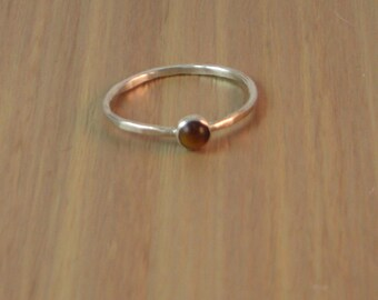 Tiger Eye Ring, Sterling silver ring, tiger eye stacking ring, silver and tiger eye ring, silver stacking ring, stacker