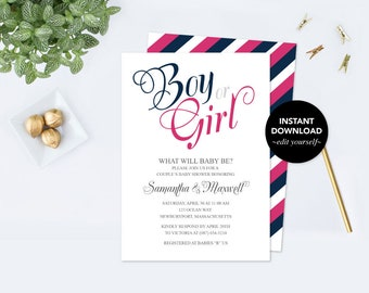 GENDER REVEAL INVITATION, Gender Reveal, Invitation Template, Gender Reveal Ideas, Instant Download, pdf Digital, Announcement, Baby Shower