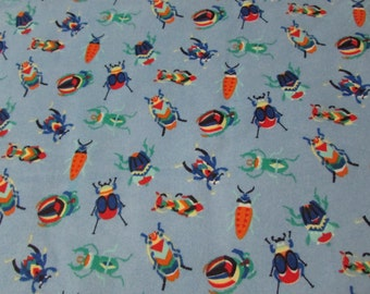 Flannel Fabric - Crystal Bugs Multi - By the yard - 100% Cotton Flannel