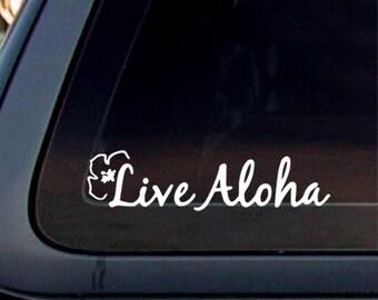 Live Aloha Hawaii Island Girl,8.5x2, Decal,Sticker,Car window decal, Car sticker. *Free Shipping*