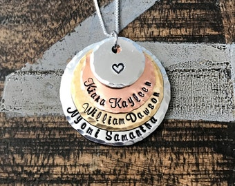 Name Necklace Grandma Necklace Handstamped Necklace Mixed Metal Jewelry Personalized Necklace Gift for Mimi Gift for Grandma Mother Day Gift